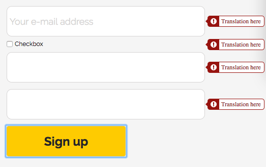 Form validation errors