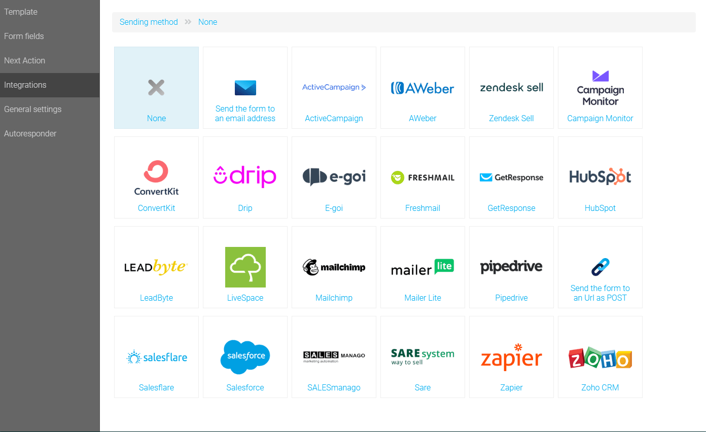 The integrations list of the Landingi editor features software listed above and more