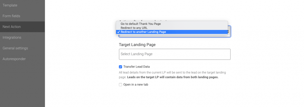 Next step in setting up Landingi funnels