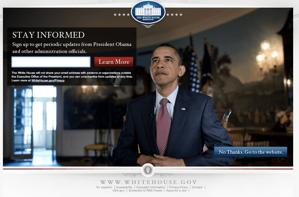 7 Advanced landing page strategies obama thank you page
