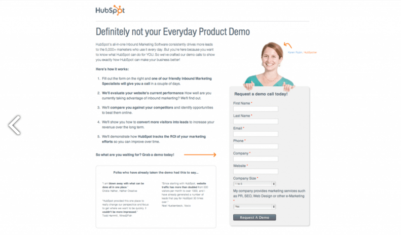 źródło: https://blog.hubspot.com/marketing/landing-page-design-tactics-to-test