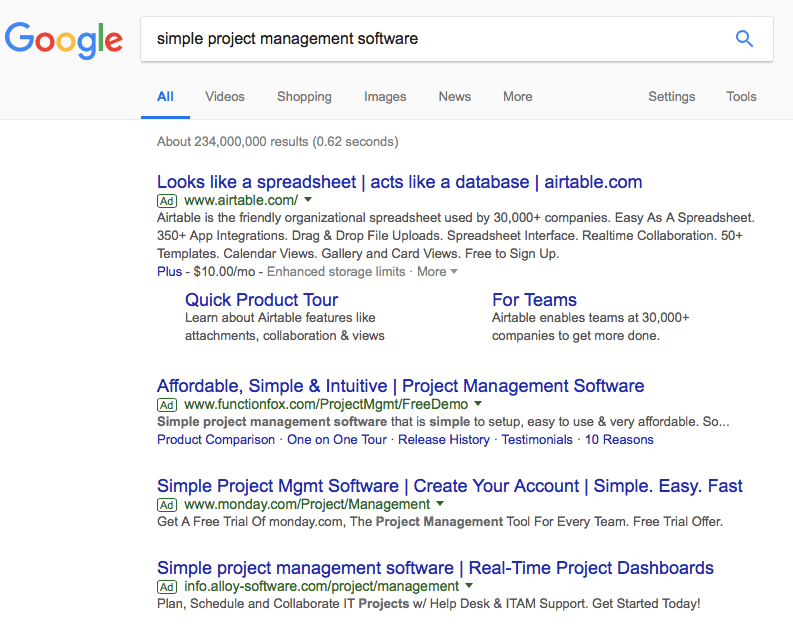 Google Search Simple Project Management Software