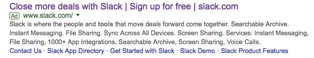Slack google advertisement ROI