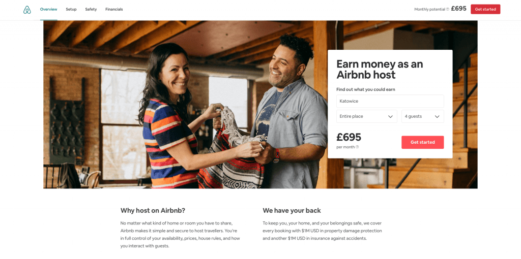 Airbnb direct encouraging CTA