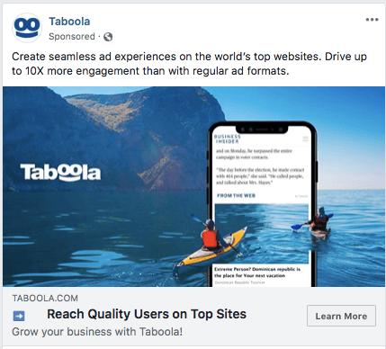 Taboola facebook advertisement