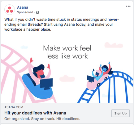 Asana facebook advertisement ROI