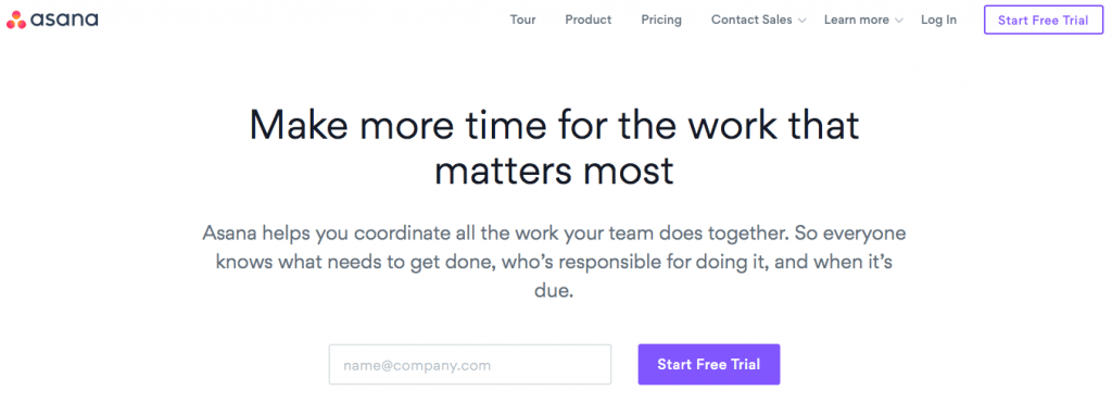 Asana project management homepage ROI