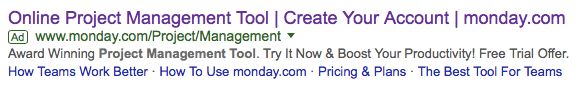 Monday.com google advertisement triggered after search