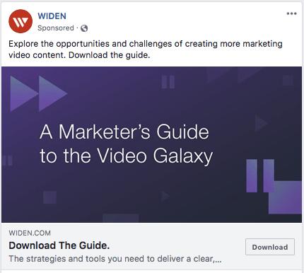 Widen video marketing facebook advertisement