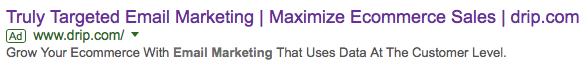 Drip google advertisement triggered ROI