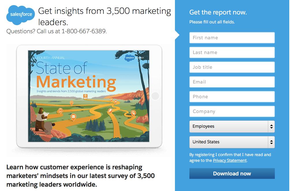 Salesforce - Marketing Landing Page